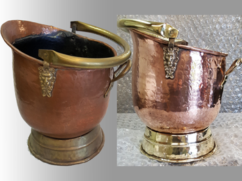 Coal scuttle before and after polishing